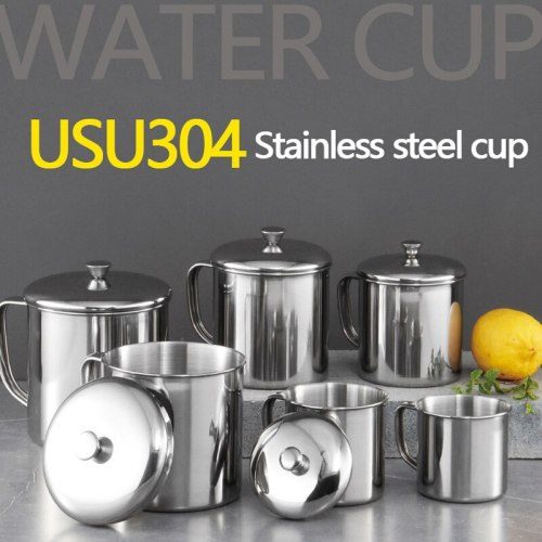 Double Stainless Steel With Lid Cup Coffee Mug Household Portable Outdoor  Wine Beer Coffee Tea Camping Cup Handle With Handgrip