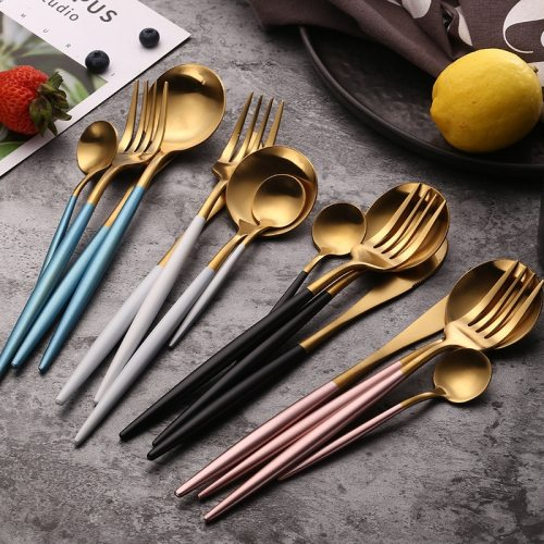 Dinnerware Set Travel Camping Cutlery Steak Knife Fork Set Reusable Coffee Spoon Metal Fork Chopsticks Portable Dinnerware Set