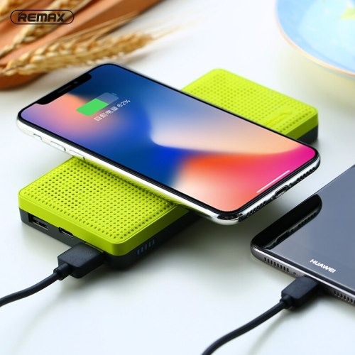 Remax QI 10000mah wireless charger power bank with Indicator light Dual USB External Battery charging for iphone X 8 plus S7 S8