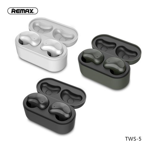Remax TWS-5 Wireless Bluetooth Earphones Twins Earphone With Charging box headsets Bluetooth 5.0 Smart Touch Stereo