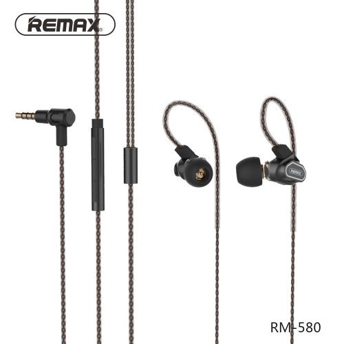 Remax dual moving-coil Wired Earphone Stereo Earbuds Bass Headset with HD Microphone Voice Control Music for iPhone 5 6 Xiaomi