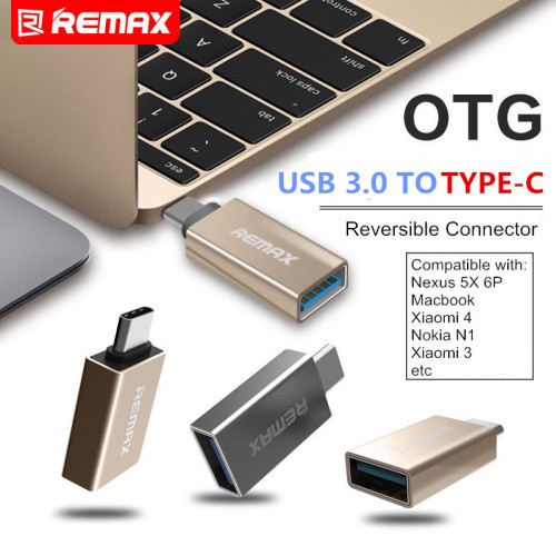 REMAX Phone OTG TYPE-C to USB 3.0 TYPE C Adapter Mini Connector 3A Fast Charging otg usb flash drive for Macbook Xiaomi Mi5 Mi6