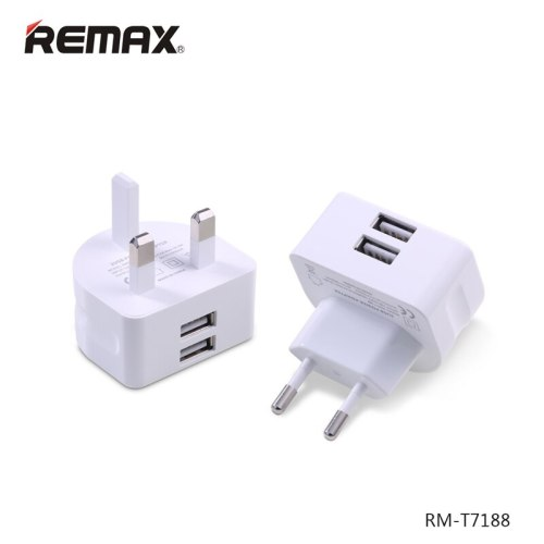 Remax 2.1A Travel Power Adapter for Mobile Phone Charger 2 USB Output Charger EU UK Plug for iPad/iPhone/Samsung/Huawei
