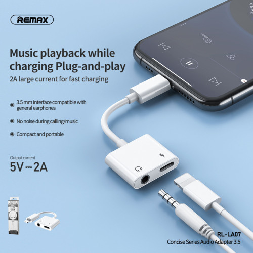 New Arrival Remax Concise Series Audio Adapter No Noise During Calling/Music  2A Fast Charging For iPhone 8 X 11 pro