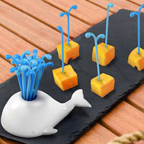 Creative cute fruit pick whale food pink dessert cake fork holder dining table decor home kitchen useful party utensils