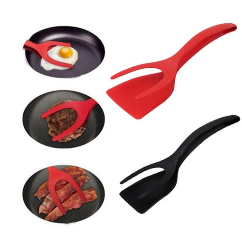Multifunctional 2 in 1 Non-Stick Bread Egg Turners Cooking Tongs Gadgets For Kitchen Utensils Silicone Spatula Cooking Tool