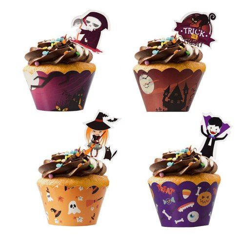 Halloween Muffins Cupcake Paper Cups Cake Decorating Tools Cupcake Liner&Cake Topper Baking Tools Cake Wrappers Paper Cup