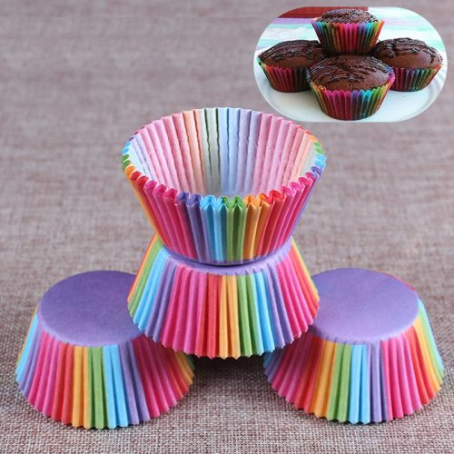 100pcs Christmas Rainbow Cupcake Paper Liners Muffin Cup Cake Baking Egg Tarts Tray Kitchen Accessories Pastry Decorating Tools