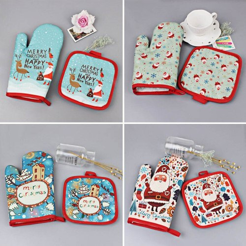 2pcs/set Barbecue Christmas Oven Gloves Anti-Hot Baking Gloves Pad Oven Dining BBQ Kitchen Mat New Year Party Supplies