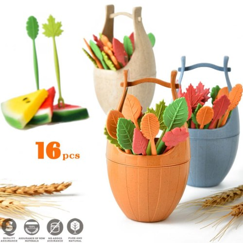1 Set Biodegradable Natural Wheat Straw Leaves Fruit Fork Set Party Cake Salad Vegetable Forks Picks Table Decor Tools