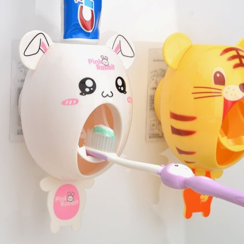 Lovely Toothbrush Holder Bathroom Accessories Cartoon Half Automatic Toothpaste Dispenser Wall Mount Stand Bathroom Sets
