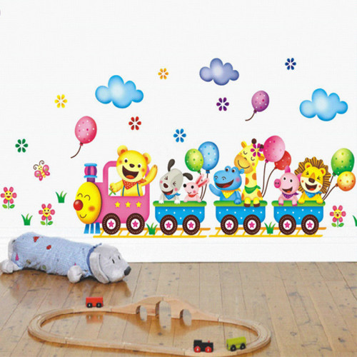 Cute Cartoon Animal Train Removable Wall Stickers Kids Bedroom Accessories Baby Stickers House Decoration