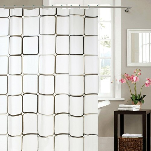 PEVA Shower Curtain With Hook Plaid Black And White Squares Waterproof 5 Sizes Curtains For The Bathroom Accessories