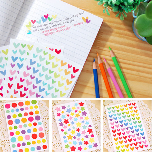 Colored paper sticker decals funny toy sticker paper for creativity diary journal paper scrapbooking decorative sticker in diary