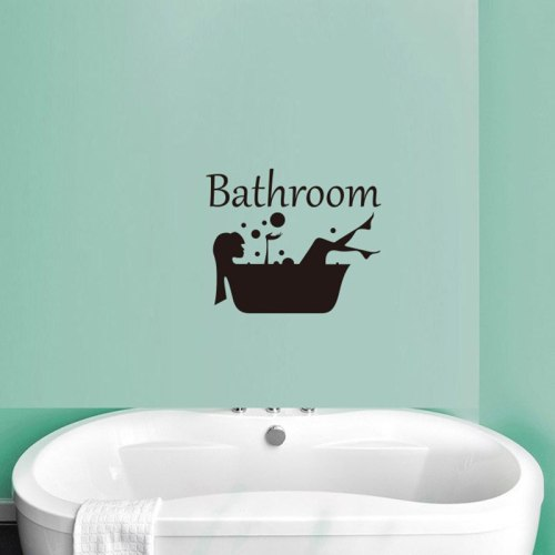 Bathroom Wall door decor Sign Stickers toilet shower room Letter Removable decoration stickers Art Vinyl Mural Home Decal