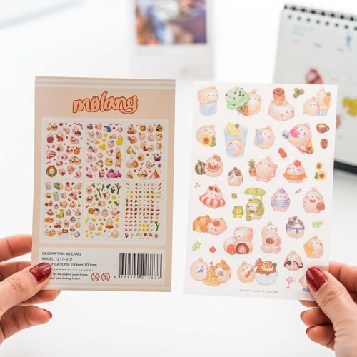 6pcs Kawaii Rabbit Scrapbook Stickers PVC Kids Girls Waterproof Notebook Stickers Skateboard Diary Decoration Phone Stickers