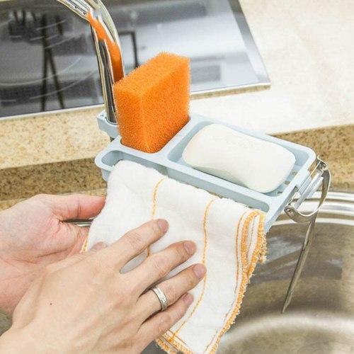 Kitchen Storage Organizer Adjustable Sink Storage Rack Faucet Clip Hanging Holder Soap Sponge Dish Drainer Shelf