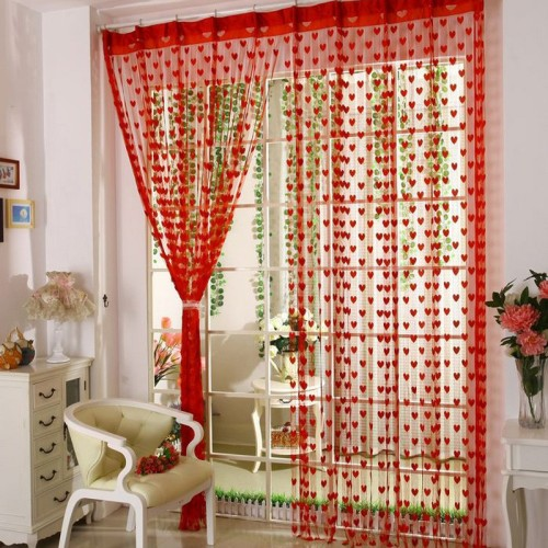 100*200cm Romantic Heart-shaped string sheer curtains for living room bedroom kitchen,9 colors