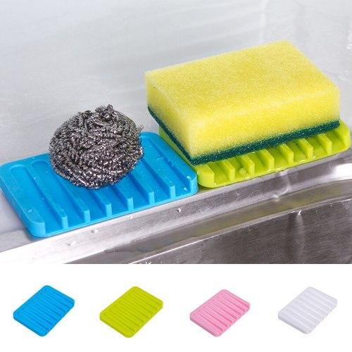 1Pc Silicone Bathroom Accessories Flexible Soap Dish Storage Soap Holder Plate Tray Drain Creative Bath Tools