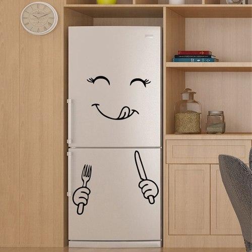 Cute Fridge Sticker Happy Delicious Face Kitchen Decoration Fridge Vinyl Stickers Refrigerator Art Home Wall Decal
