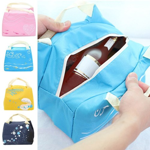 Cute Cartoon Lunch Bag Insulated Waterproof Canvas Portable Food Storage Bag Picnic Camping Cooler Bag for Student