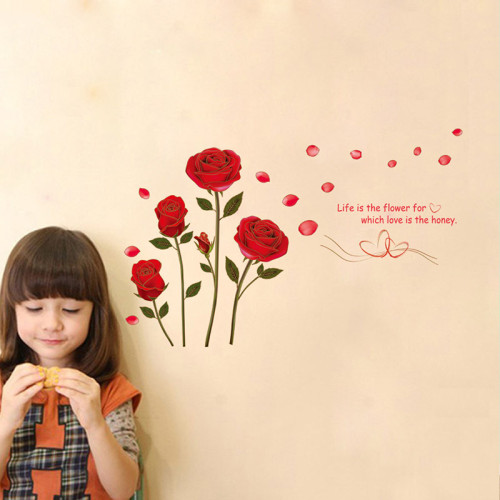 Red rose flower life is the flower removable wall sticker mural decal Home room wallpaper art decor  vinyl romantic delightful