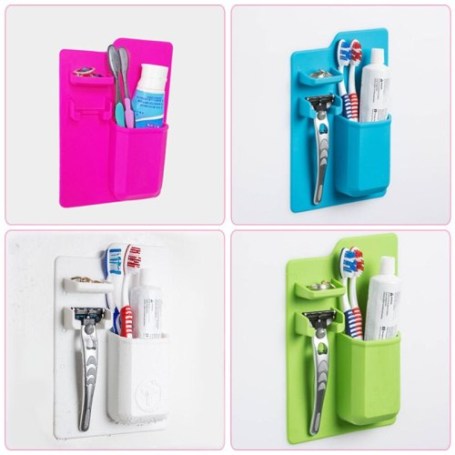 Silicone Toothbrush Holder Wall Sucker Toothpaste Storage Rack Shaver Shelf Tooth Brush Organizer Case Home Bathroom Accessories