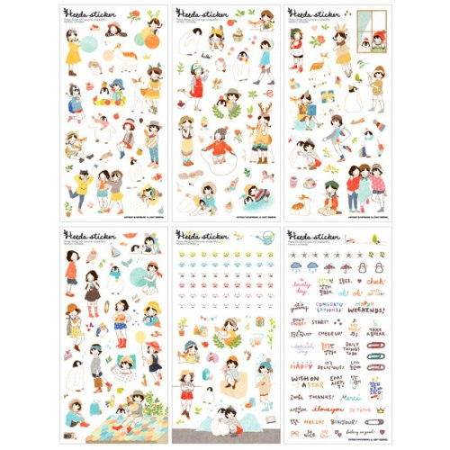 6 Sheets Korean Lovely Girls Stickers Scrapbooking Diary Children Diy Scrapbooking Material Stationery Products Albums Stickers