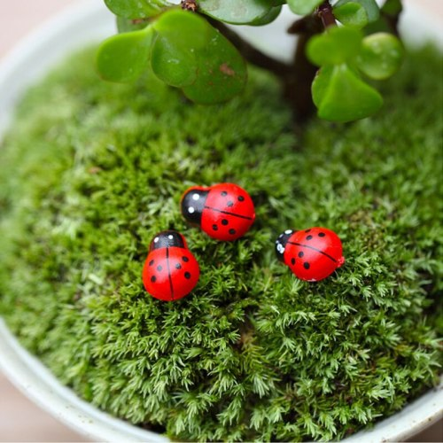 200pcs/lot Garden pot decoration mini ladybug ladybird beetle cartton beetle sponge sticker sel adhesive garden decorations
