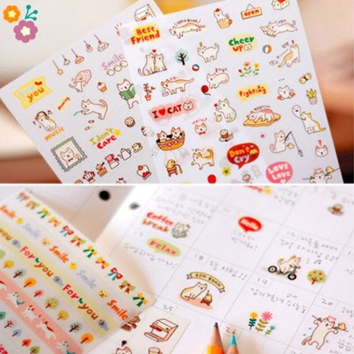 Cute Lovely 6 Sheets Paper Stickers For Diary Scrapbook Notebook Wall Decor DIY Cartoon Scrapbooking Stickers