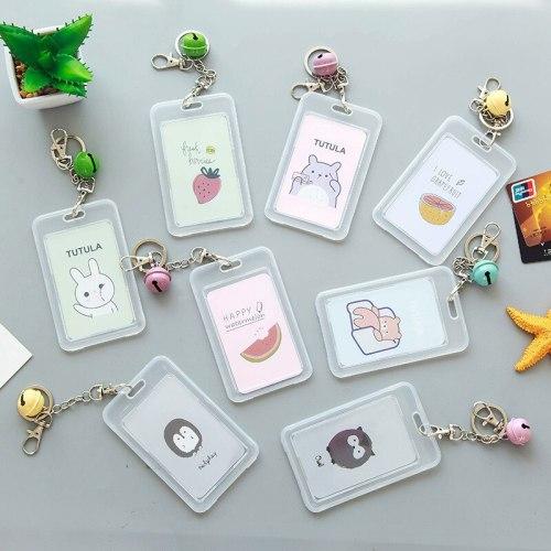 Cute Cartoon Credit Card Holder Women Men ID Bank Card Bag Transparent Card Cover Cactus Bear Student Card Cover Case