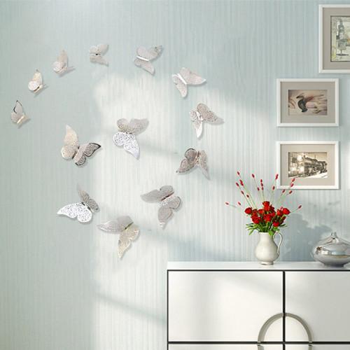 12pcs/set 3D DIY Hollow Butterfly Wall Sticker for Home Decor Butterflies Fridge Stickers Room Decoration Party Wedding Decor