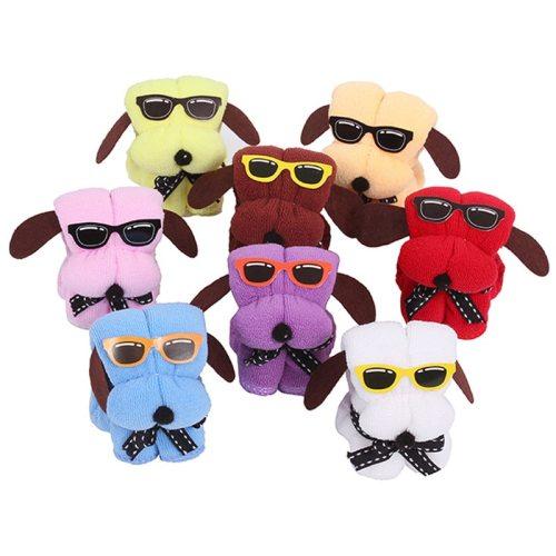 Serviette De Plage 3pcs Microfiber Towels Cartoon Dog Cake Shape & Sun Glasses Hand Towel Wedding Gifts Gift Towel Badhanddoeken