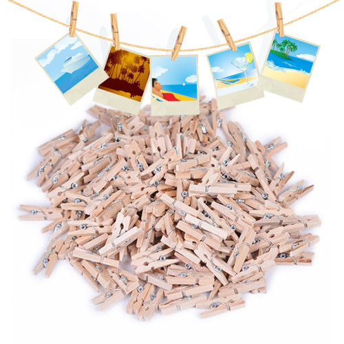 100 pcs 25mm food bag Clips Mini Wood Clips Clothes Photo Paper Peg Pin Clothespin Craft kitchen household food clips