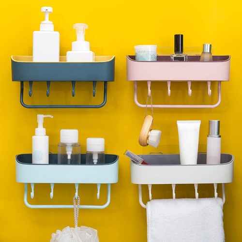 Multifunctional Toilet Bathroom Organizer Wall Hanging Rack Non-Perforated Towel Holder Rack With Hooks Bathroom Accessories