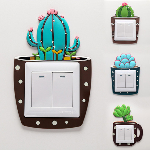 Cartoon Cactus Fluorescent Wall Switch Stickers Baby Room Decorations Luminous Light Switch Outlet 3d Wall Decorations