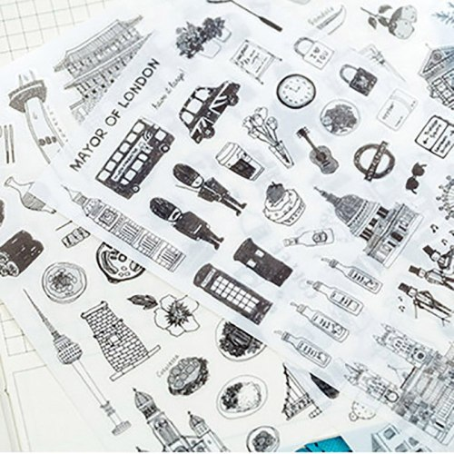 6 pcs Cartoon Stickers Retro Building Scrapbooking Stickers Journal Vintage  European Style Sticky Paper Kids DIY Craft