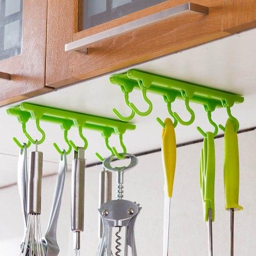 Cupboard Hanging Kitchen Organizer With 6 Hooks Plastic Adjustable Direction 4 Colors Kitchen Storage Rack Hanger Cabide Shelf