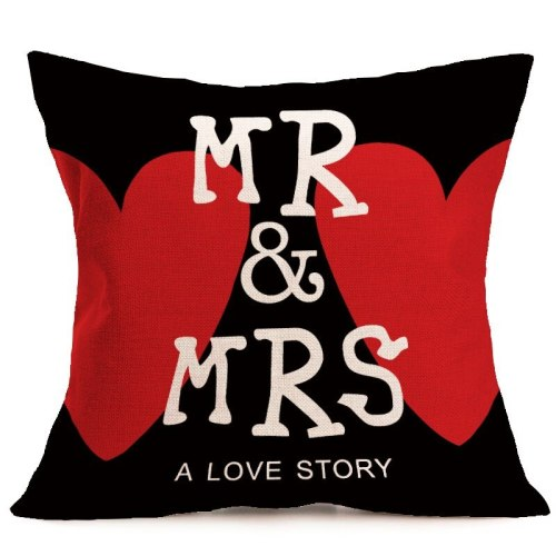 1pcs Print pillow cushions case decorative cartoon pillow covers  Mr Mrs style cotton linen cover pillow cover