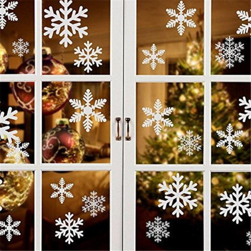 27pcs/set Snowflake christmas stickers for window living room decoration Snowflake Stickers wall decor mirror decals accessories
