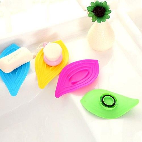 Kitchen Bathroom Accessories Sink Sponge Soap Holder Non-Slip Leaves Soap Box Drain And Clean Plastic Soap Dish