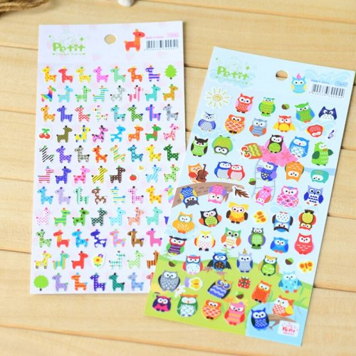 5Pcs/set Cartoon Animal Stickers Owl Giraff 3d Sticker Diy Scrapbooking Handmade Craft Kids Gift Toys Pvc Diary Sticker