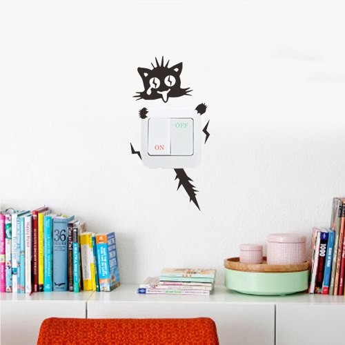 3 Color Electric Shock Kitten Cat Switch Decal Wall Stickers Cartoon Home Decal Bedroom Kids Room Living Room Light Parlor Decor