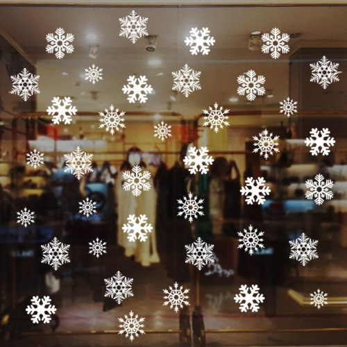 38pcs/Set Christmas Window Decoration Removable White Snowflake Christmas Stickers Decals Wall Kids Room Decorations For Home
