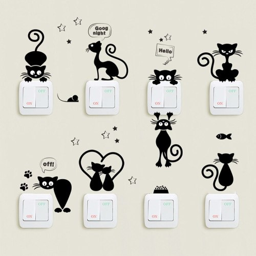 Cartoon Cat Light Switch Phone Wall Stickers For Kids Children Room Diy Home Decoration Animals Wall Decals Pvc Mural Art