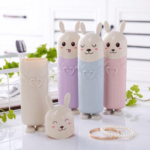 Cartoon Rabbit Toothbrush Holder Case Toothbrush Storage Box Case Cup Organizer Outdoor Travel Camping Bathroom Accessories