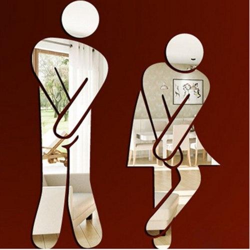 Removable Mirror Sticker Home Decor Men Women Pattern Hotel Ktv Washroom Toilet Wc Wall Sticker Family Diy Wall Decor
