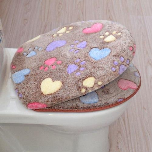 Cute Heart Footprint Warm Toilet Seat Cover Bathroom Comfortable Coral Velvet Toilet Case Toilet Mat Cushion