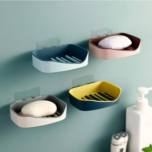Wall-Mounted Soap Dish Holder Double Layers Drain Soap Box Case Plastic Hollow Soap Storage Rack Organizer Bathroom Accessories