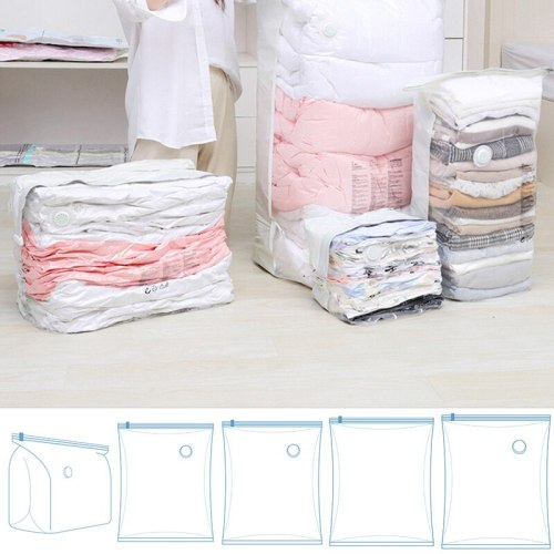 High Capacity Vacuum Compressed Bag Free Pumping Transparent Thick Vacuum Bag For Clothes Space Saving Wardrobe Organizer